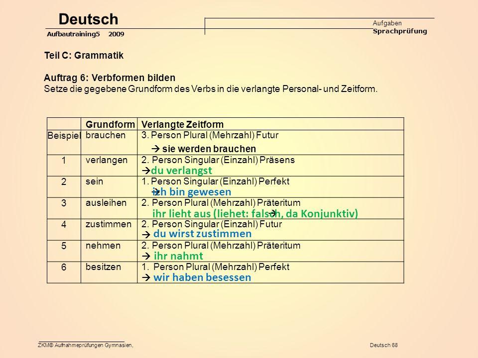 Deutsch du verlangst ich bin gewesen