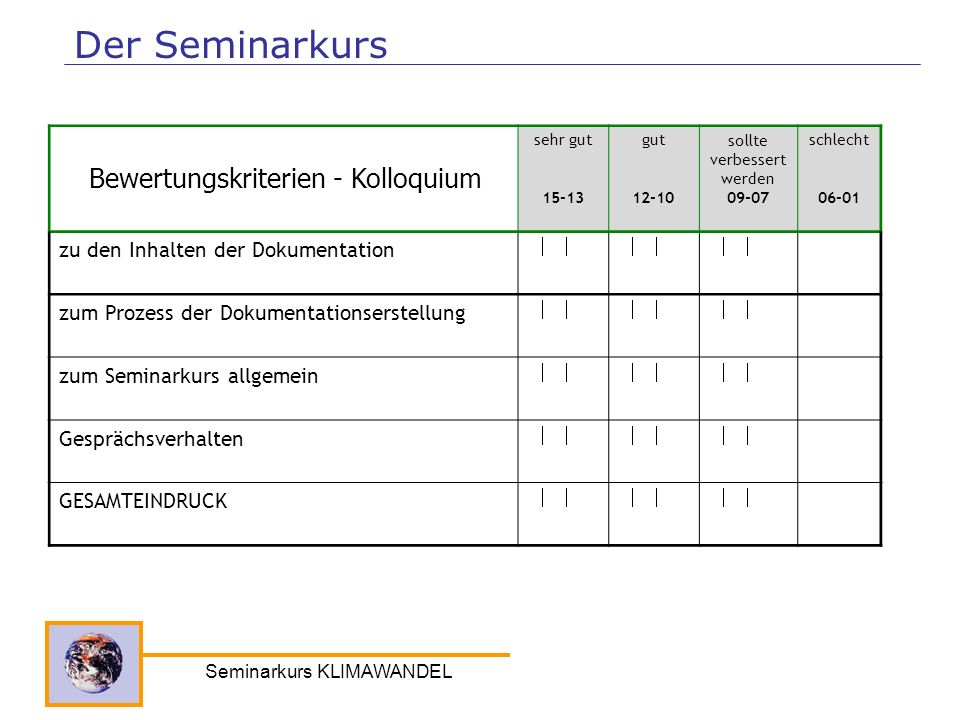 Der Seminarkurs Bewertungskriterien - Kolloquium