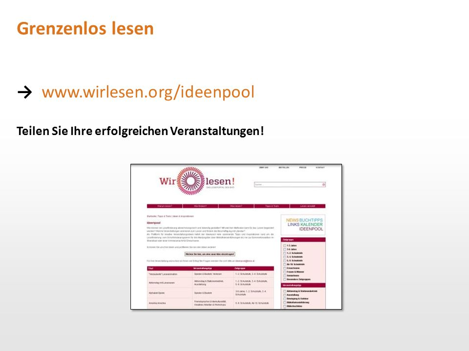Grenzenlos lesen → www.wirlesen.org/ideenpool