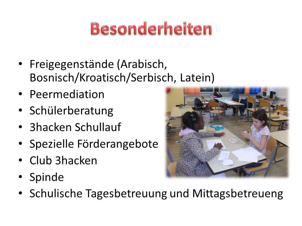 Besonderheiten Freigegenstände (Arabisch, Bosnisch/Kroatisch/Serbisch, Latein) Peermediation. Schülerberatung.