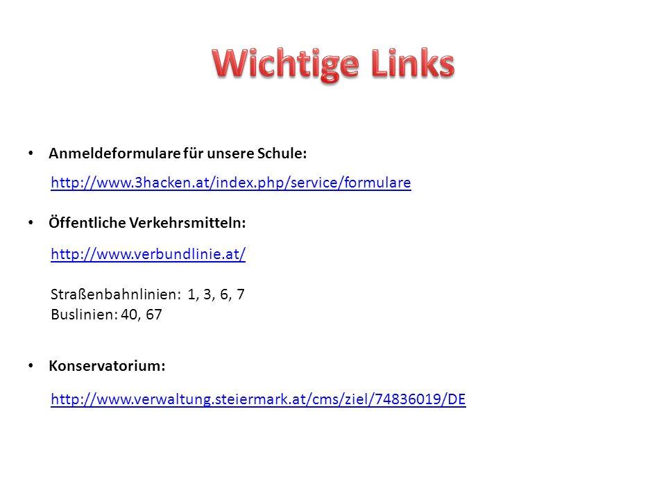 Wichtige Links Anmeldeformulare für unsere Schule: