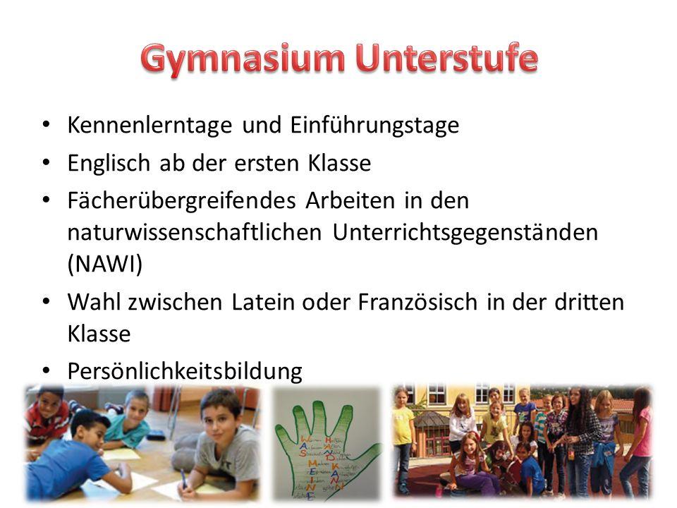 Gymnasium Unterstufe Kennenlerntage und Einführungstage