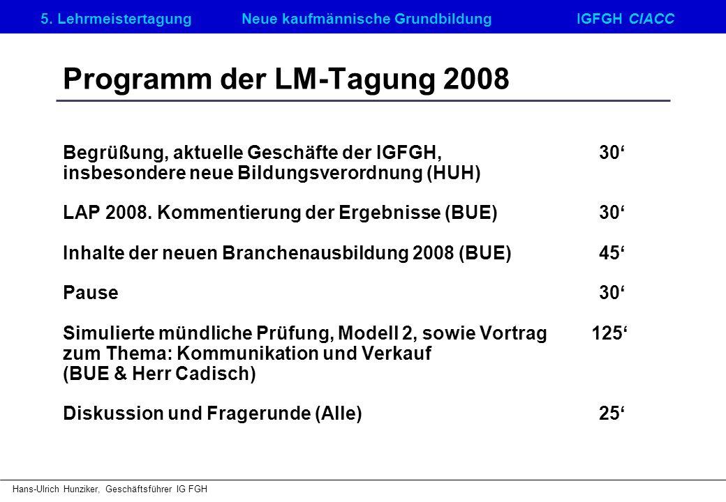 Programm der LM-Tagung 2008