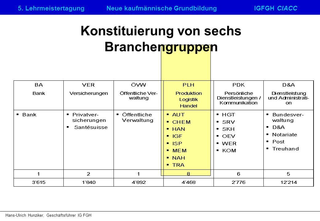 Konstituierung von sechs Branchengruppen