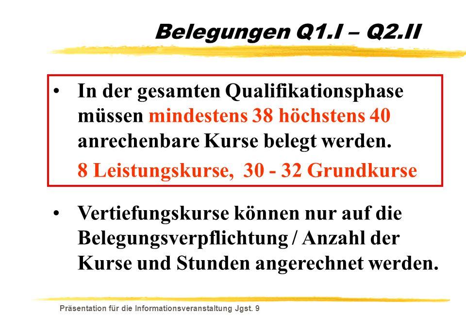 8 Leistungskurse, 30 - 32 Grundkurse