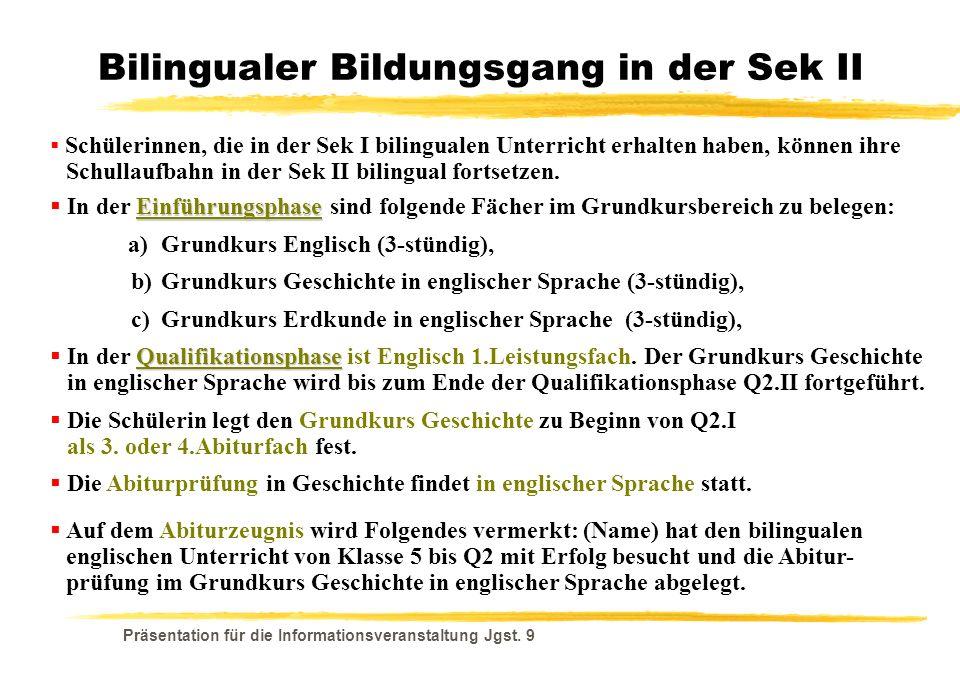 Bilingualer Bildungsgang in der Sek II