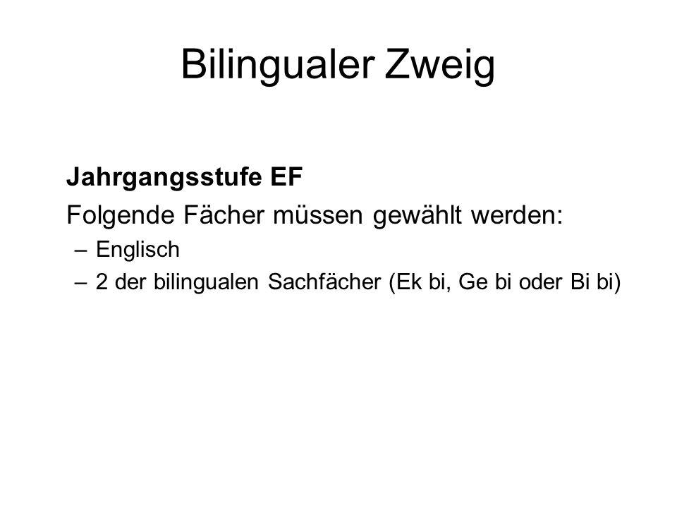 Bilingualer Zweig Jahrgangsstufe EF