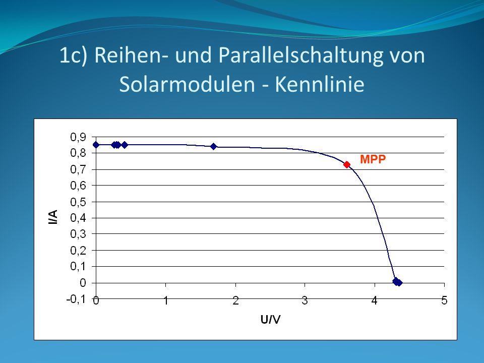 1c) Reihen- und Parallelschaltung von Solarmodulen - Kennlinie