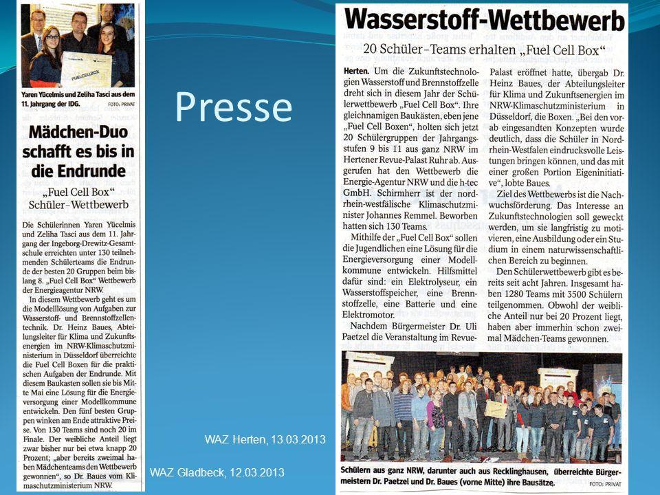 Presse WAZ Herten, 13.03.2013 WAZ Gladbeck, 12.03.2013