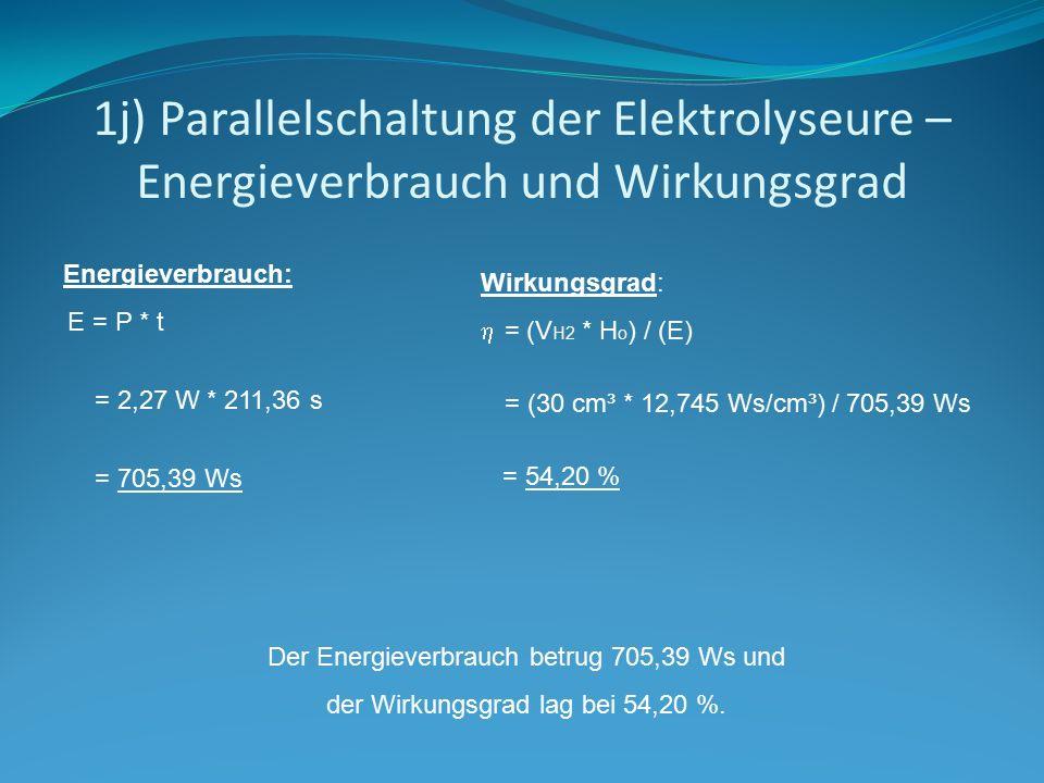 1j) Parallelschaltung der Elektrolyseure – Energieverbrauch und Wirkungsgrad