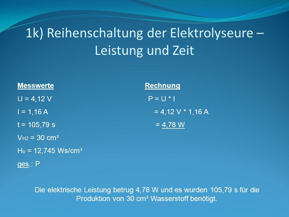 1k) Reihenschaltung der Elektrolyseure – Leistung und Zeit