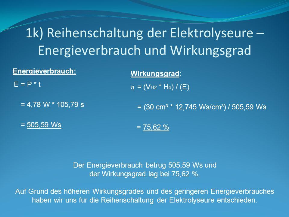 1k) Reihenschaltung der Elektrolyseure – Energieverbrauch und Wirkungsgrad
