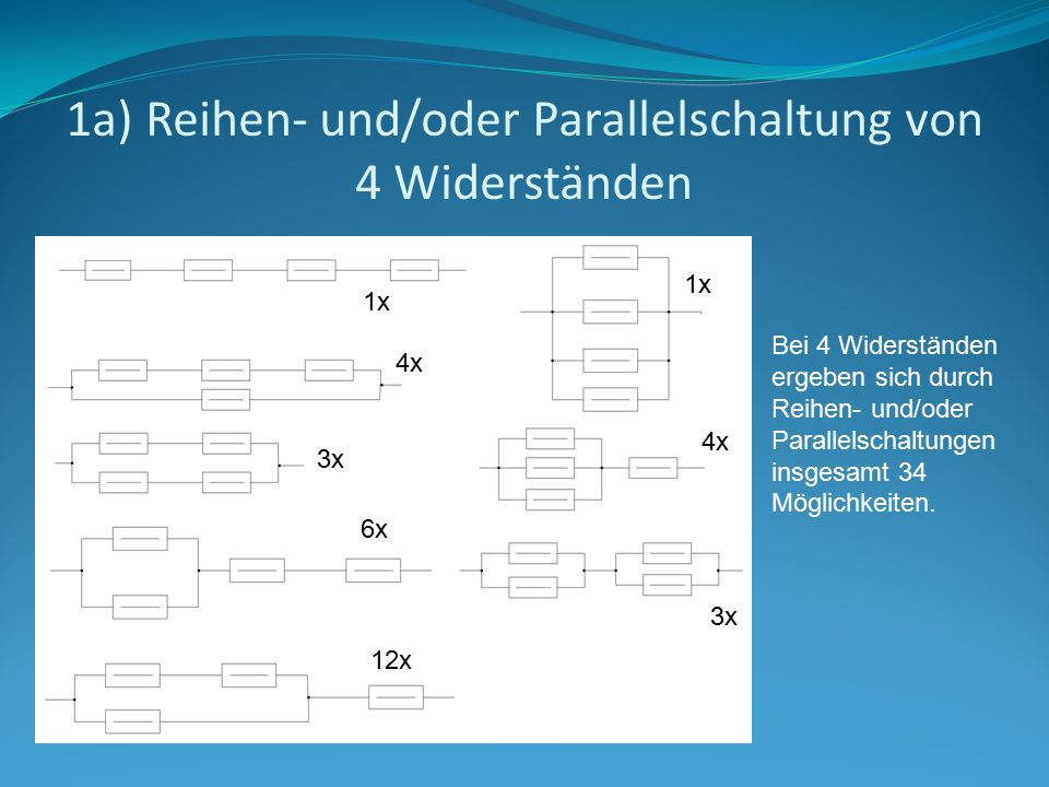 1a) Reihen- und/oder Parallelschaltung von 4 Widerständen