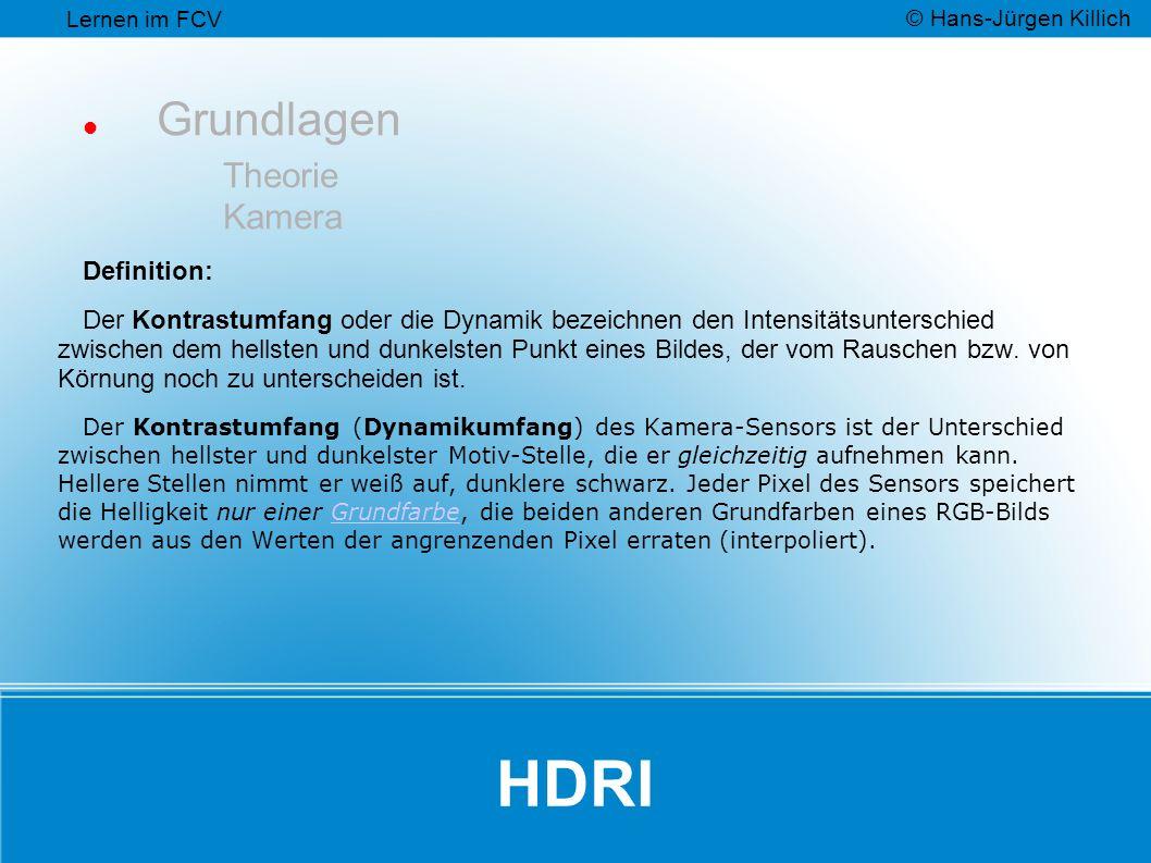 HDRI Grundlagen Theorie Kamera Definition: