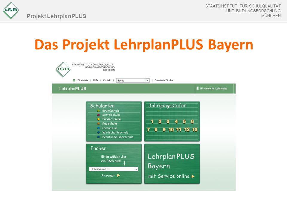 Das Projekt LehrplanPLUS Bayern