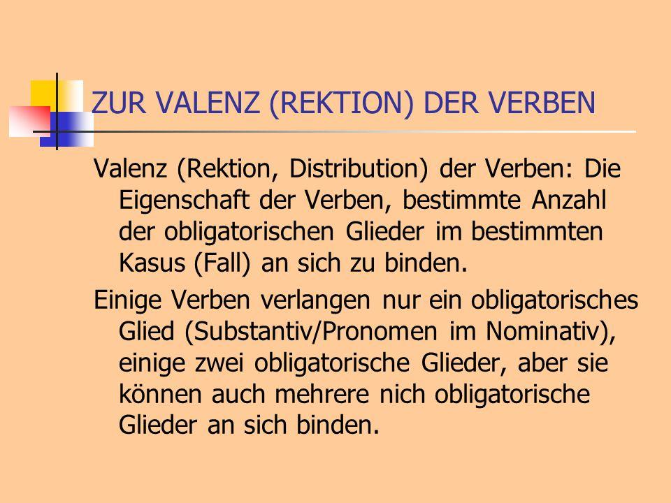 ZUR VALENZ (REKTION) DER VERBEN