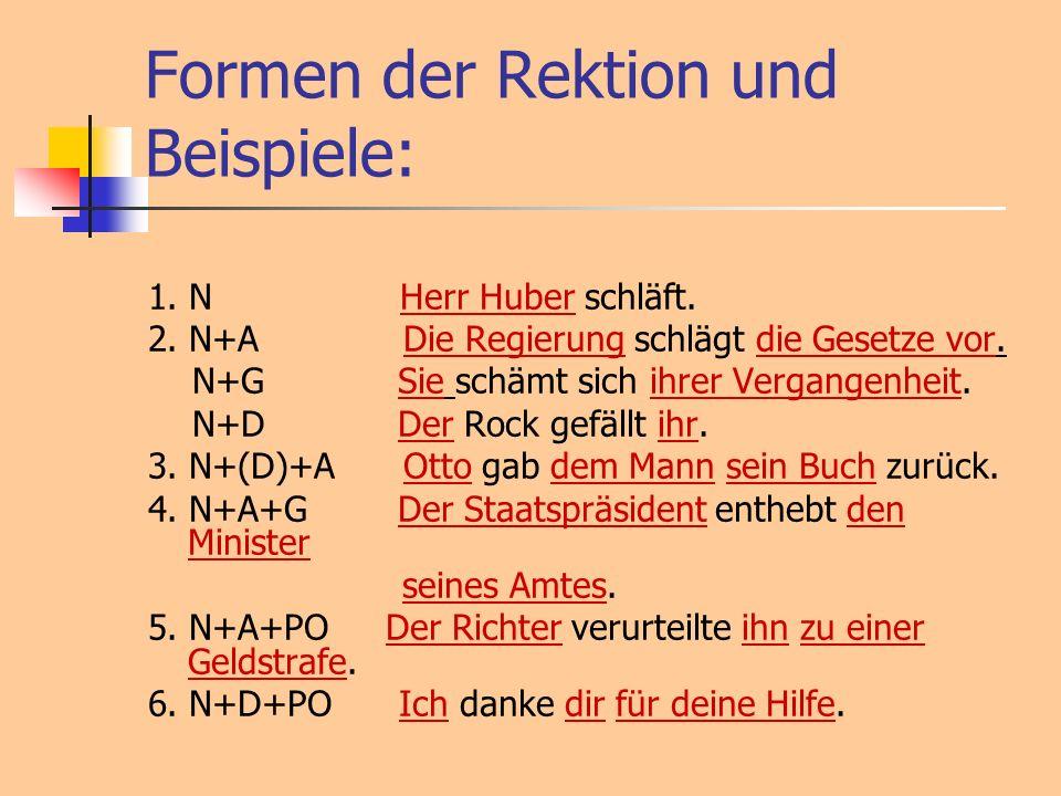 Formen der Rektion und Beispiele: