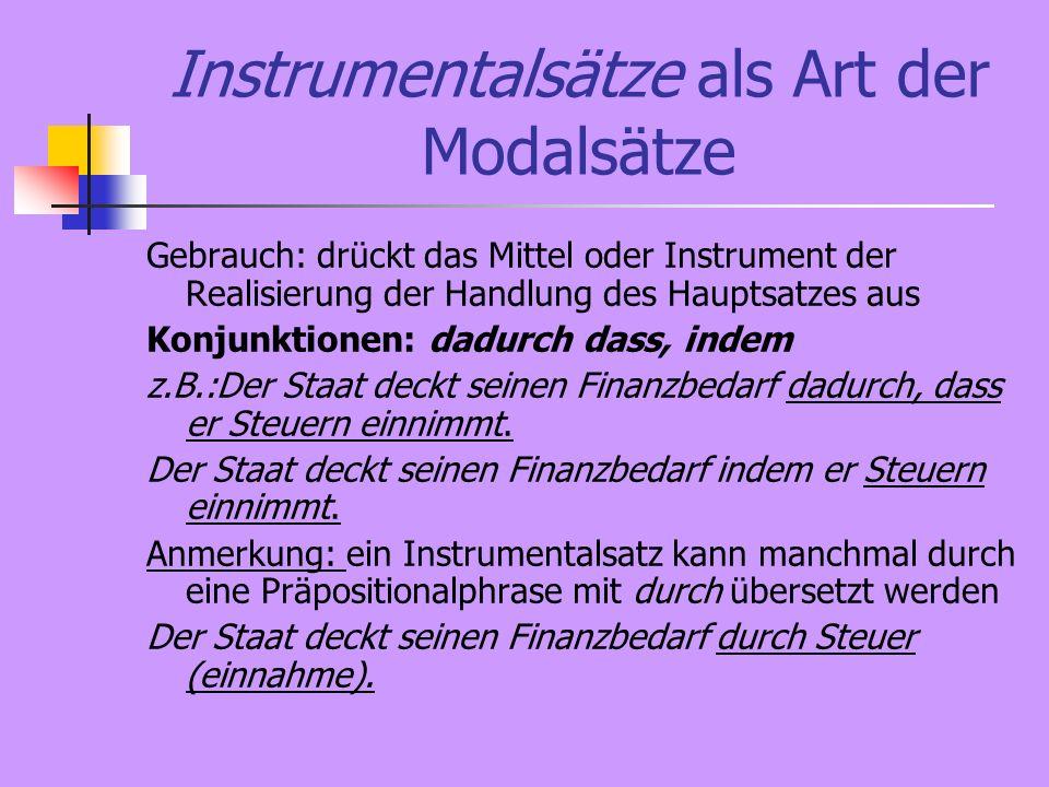 Instrumentalsätze als Art der Modalsätze