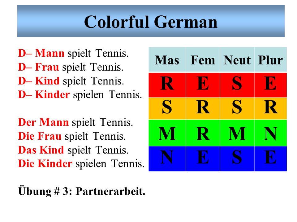 R E S M N Colorful German Mas Fem Neut Plur D– Mann spielt Tennis.