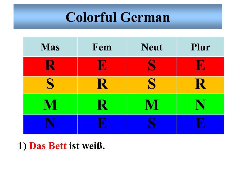 Colorful German Mas Fem Neut Plur R E S M N 1) Das Bett ist weiß.