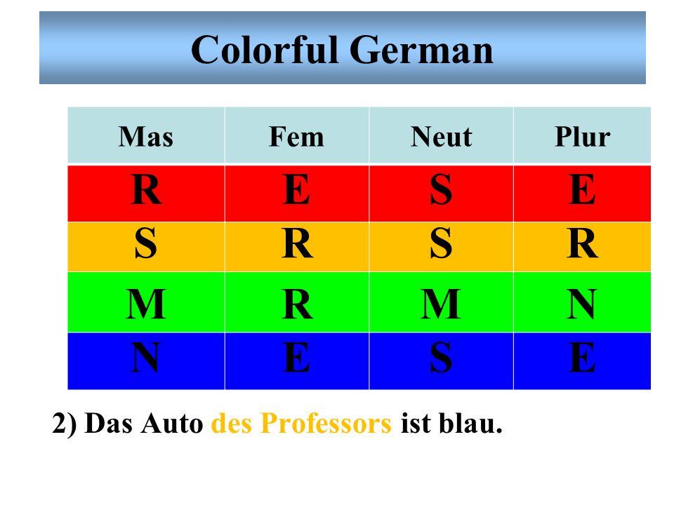 R E S M N Colorful German Mas Fem Neut Plur
