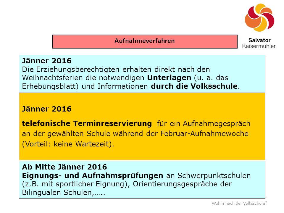 Aufnahmeverfahren Jänner 2016
