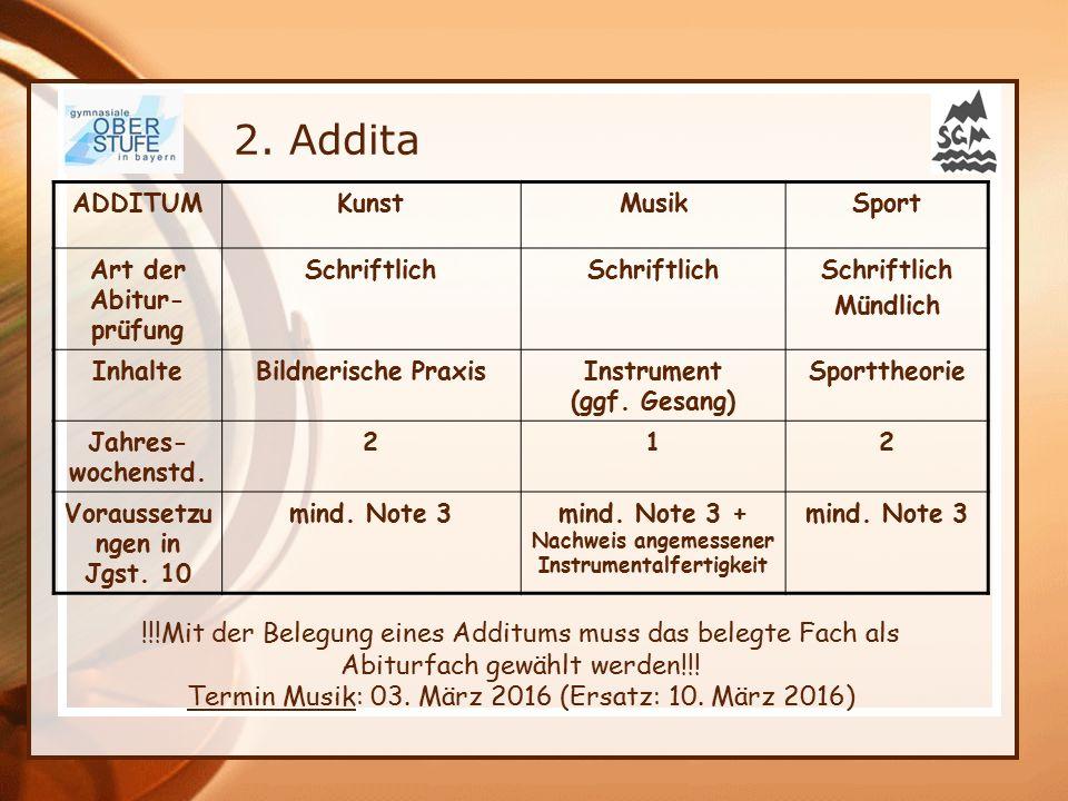 2. Addita ADDITUM. Kunst. Musik. Sport. Art der Abitur-prüfung. Schriftlich. Mündlich. Inhalte.