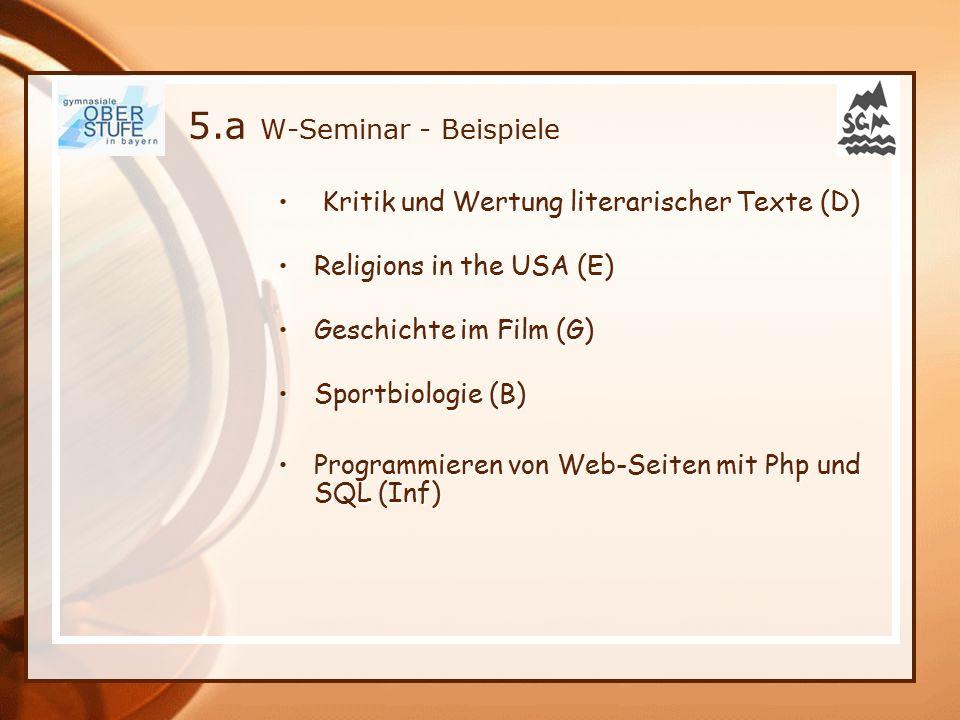 5.a W-Seminar - Beispiele