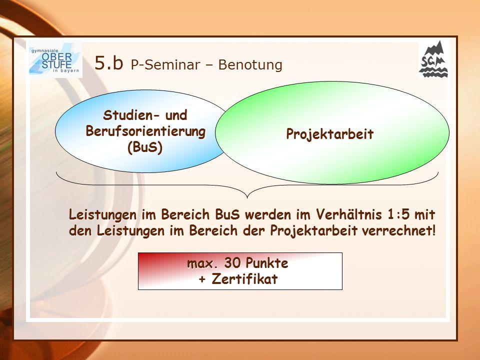 5.b P-Seminar – Benotung Studien- und Projektarbeit Berufsorientierung