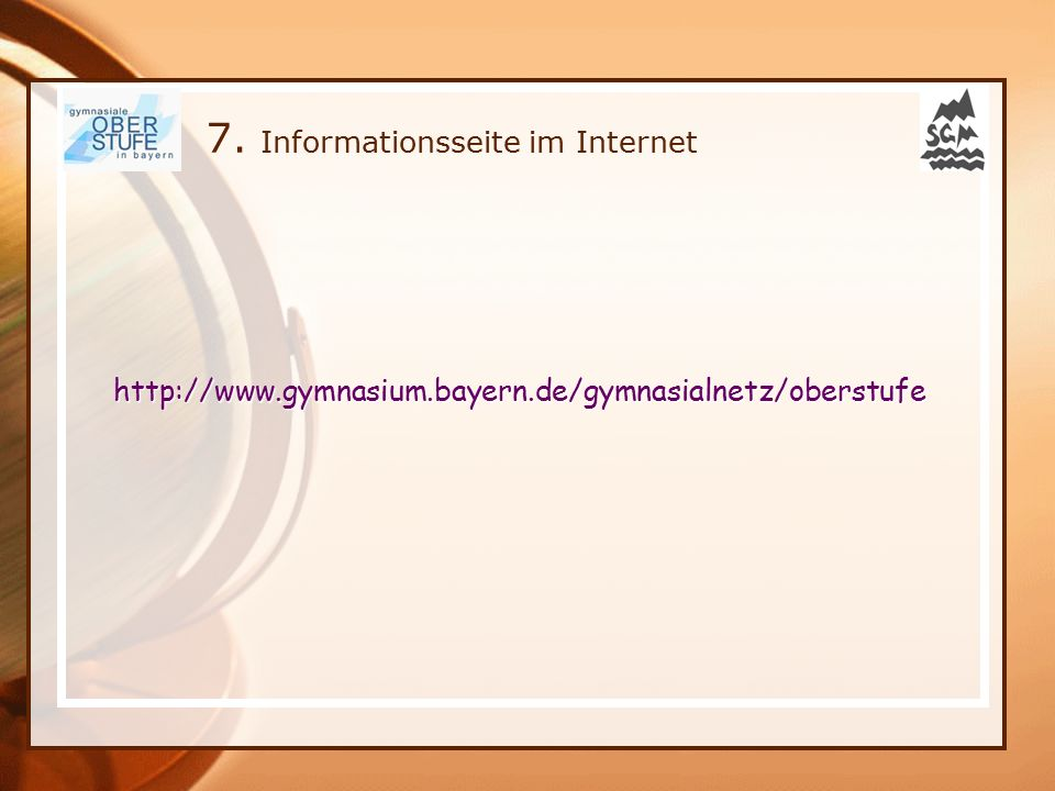 7. Informationsseite im Internet