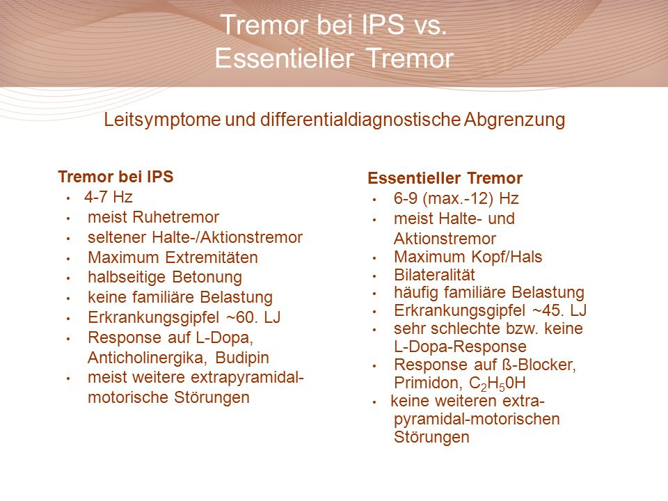 Tremor bei IPS vs. Essentieller Tremor