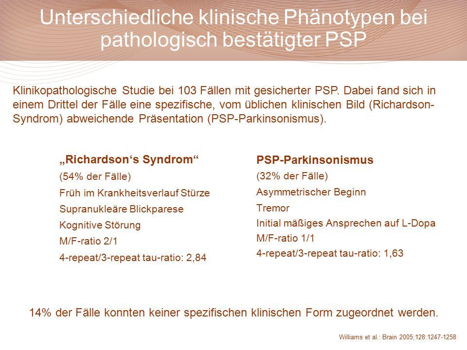 Unterschiedliche klinische Phänotypen bei pathologisch bestätigter PSP