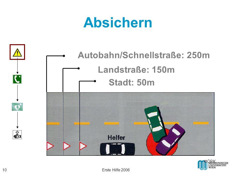 Absichern Autobahn/Schnellstraße: 250m Landstraße: 150m Stadt: 50m