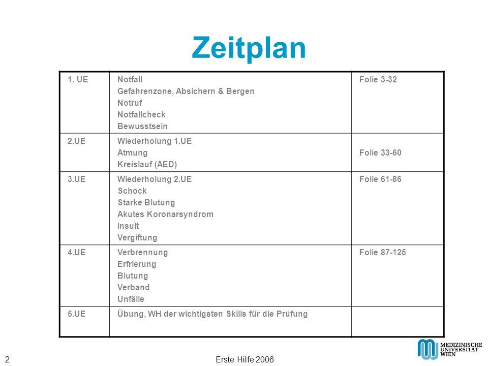Zeitplan 1. UE Notfall Gefahrenzone, Absichern & Bergen Notruf