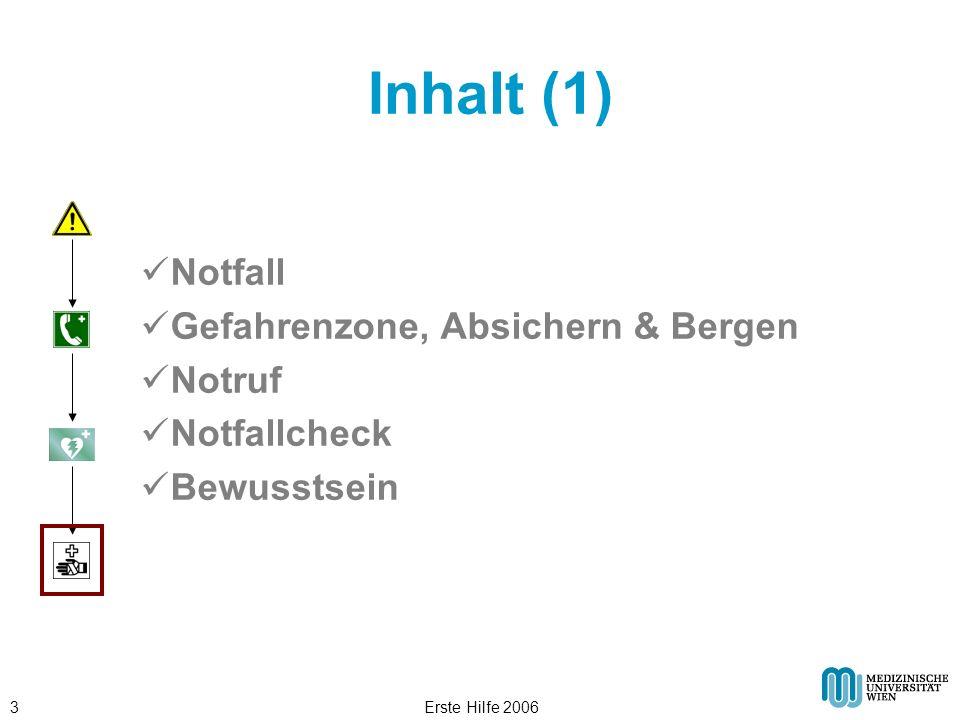 Inhalt (1) Notfall Gefahrenzone, Absichern & Bergen Notruf