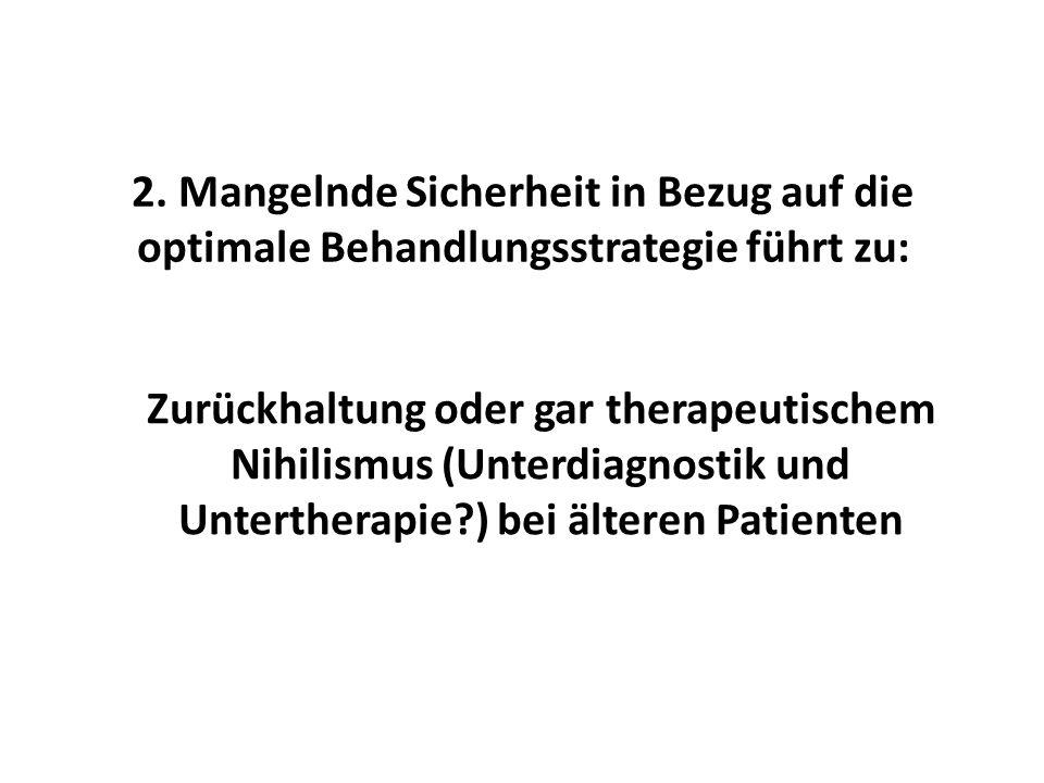2. Mangelnde Sicherheit in Bezug auf die optimale Behandlungsstrategie führt zu: