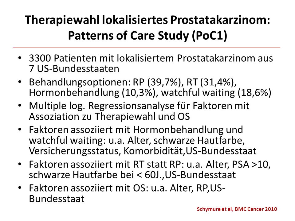 Therapiewahl lokalisiertes Prostatakarzinom: Patterns of Care Study (PoC1)