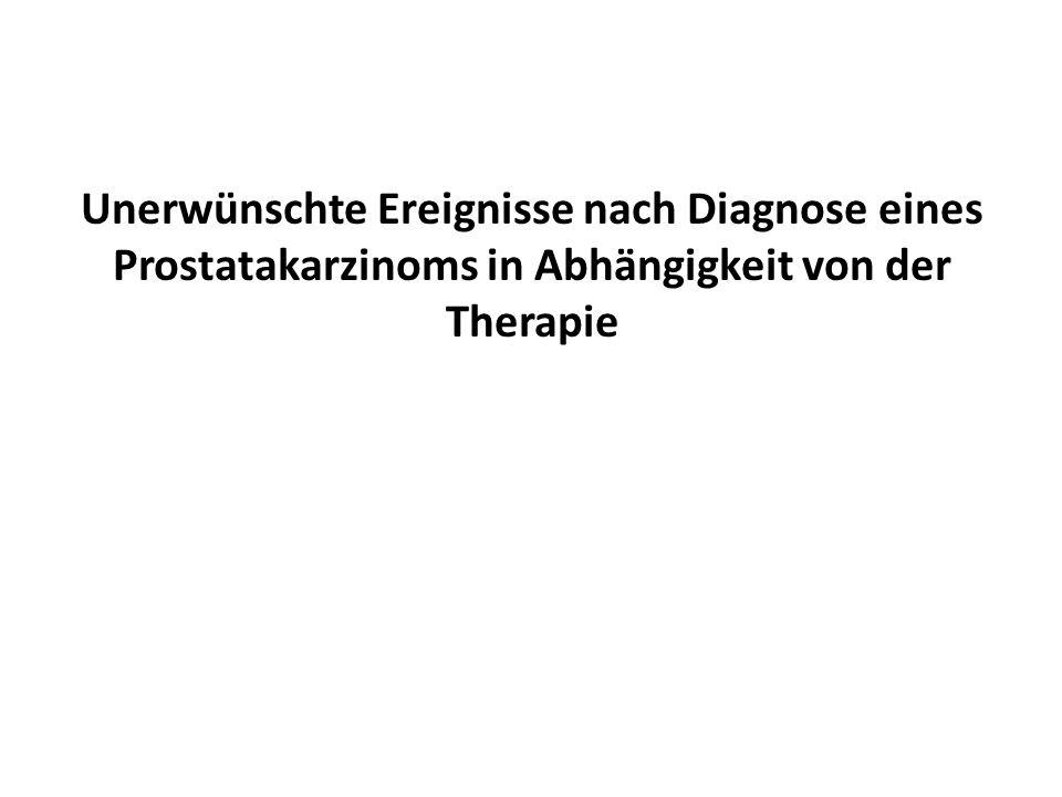 Unerwünschte Ereignisse nach Diagnose eines Prostatakarzinoms in Abhängigkeit von der Therapie