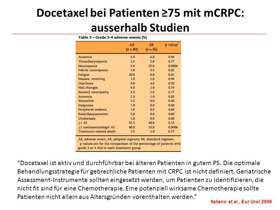 Docetaxel bei Patienten ≥75 mit mCRPC: ausserhalb Studien