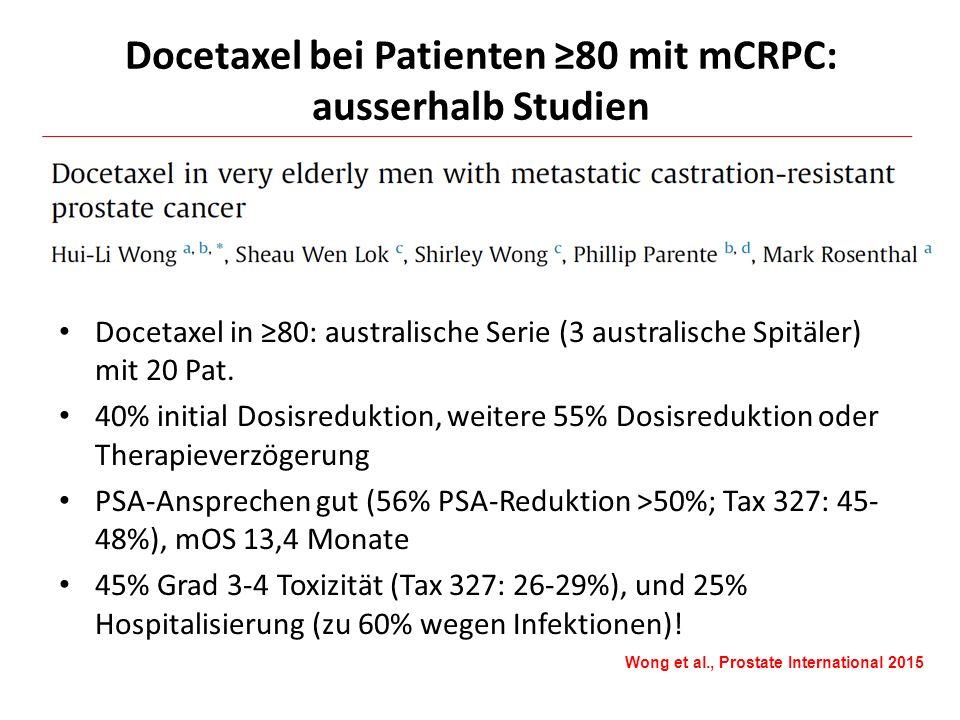Docetaxel bei Patienten ≥80 mit mCRPC: ausserhalb Studien