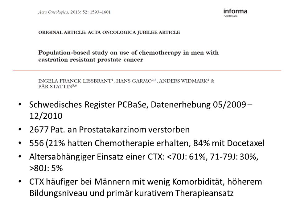 Schwedisches Register PCBaSe, Datenerhebung 05/2009 – 12/2010