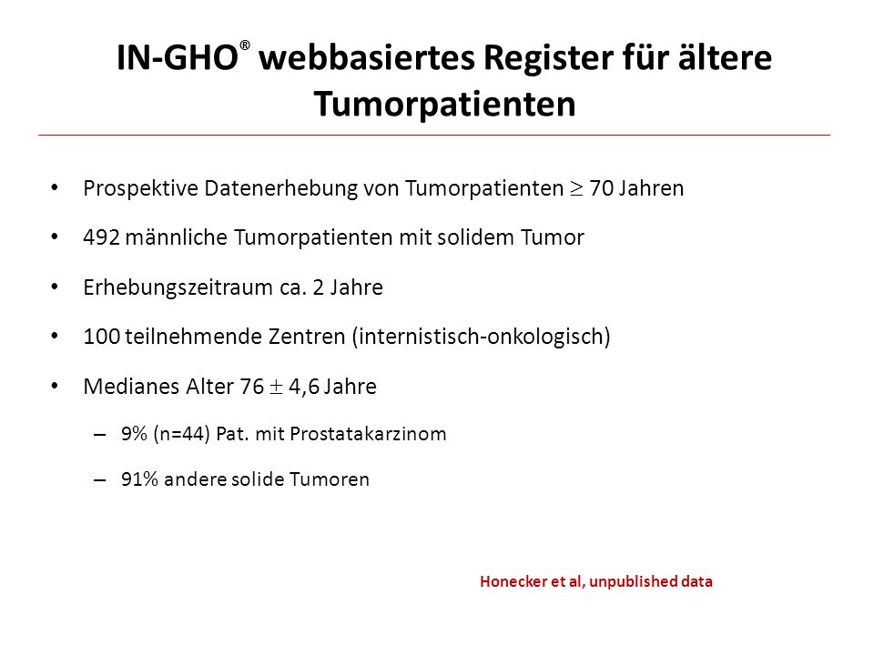 IN-GHO® webbasiertes Register für ältere Tumorpatienten