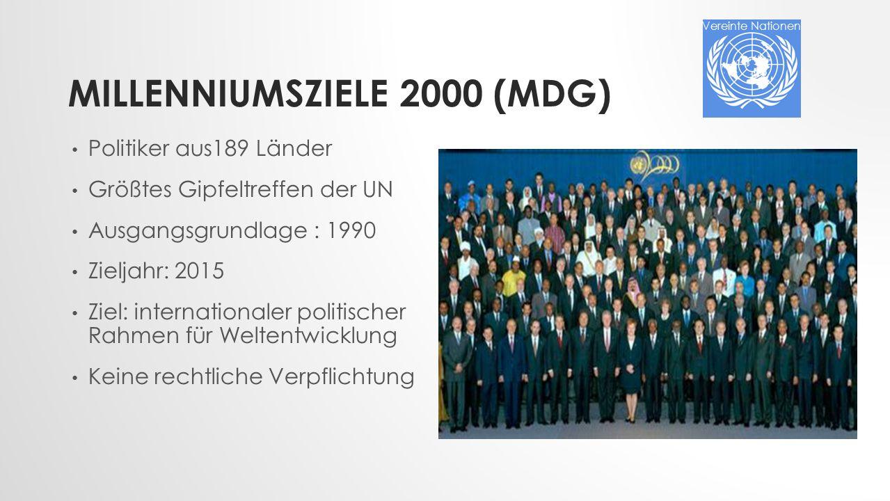 Millenniumsziele 2000 (MDG)