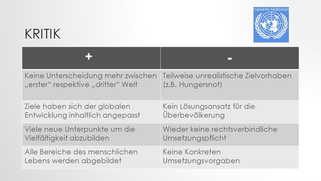 """Vereinte Nationen Kritik. + - Keine Unterscheidung mehr zwischen """"erster respektive """"dritter Welt."""