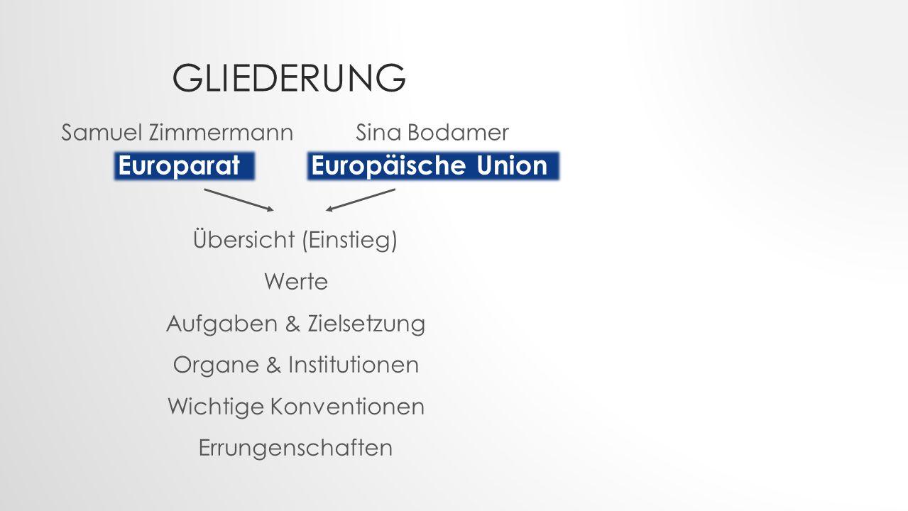 Gliederung Europarat Europäische Union Samuel Zimmermann Sina Bodamer