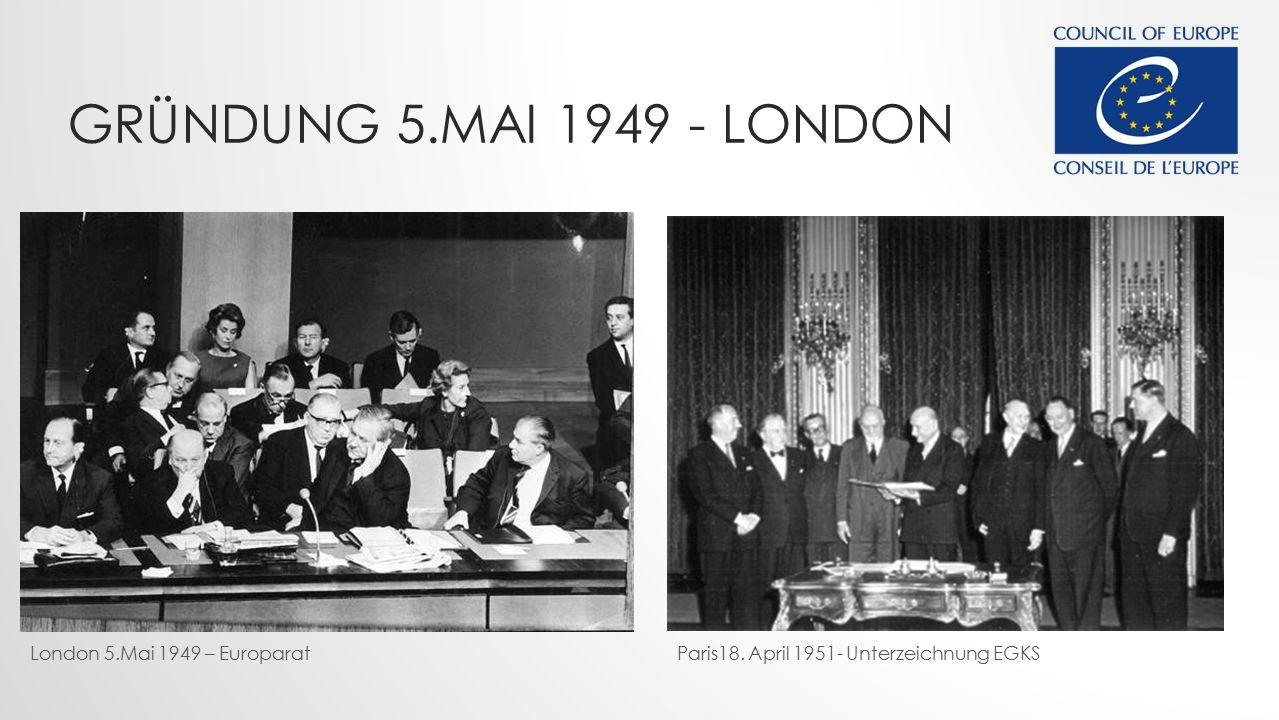 Gründung 5.mai 1949 - London London 5.Mai 1949 – Europarat