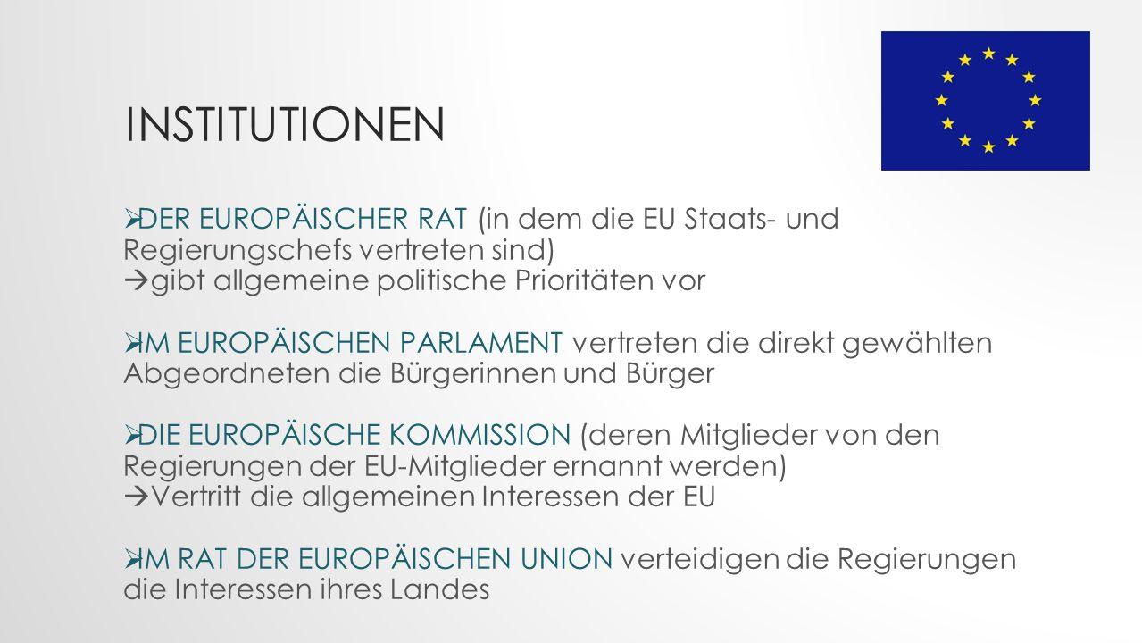 Institutionen DER EUROPÄISCHER RAT (in dem die EU Staats- und Regierungschefs vertreten sind) gibt allgemeine politische Prioritäten vor.