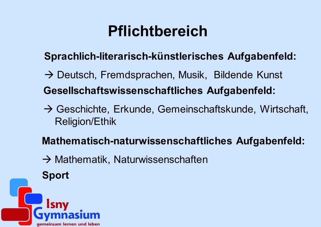 Pflichtbereich Sprachlich-literarisch-künstlerisches Aufgabenfeld: