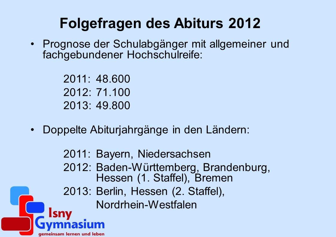 Folgefragen des Abiturs 2012
