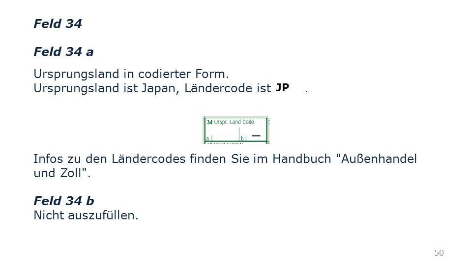 Ursprungsland in codierter Form.